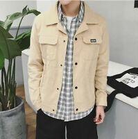 Autumn Men's Long Sleeve Jackets Casual Coats Collar Slim Coat Outwear Khaki