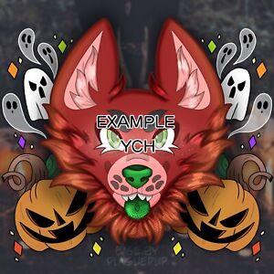 CUSTOM YCH COMMISSION Spooky Halloween Headshot Digital Art, Fursuit (READ DESC)