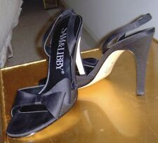 Sam and Libby High Heel Black Matte Satin Shoes - Size 7