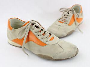 Ferragamo Auth Men's Beige Suede Orange Leather Lace Up Sneaker Shoe 10
