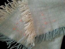 "Vintage Fringed Baby Blue Blanket Throw Shabby Baby Decor or Dolls 37"" x 30"""