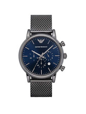 Emporio Armani Classic Grey Gunmetal Blue Chronograph Dial AR1979 Men Mesh Watch