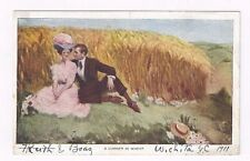 """Antique Artist Signed db Romantic post card """"A Corner in Wheat"""""""