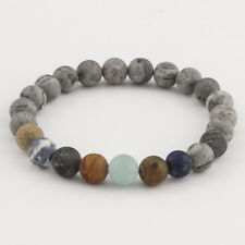 Bracelet en pierre naturelle jaspe grise, perles de 8 mm, diam : 5,5 cm, neuf