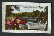 C1930s Birthday Card - Boating Lake - Dear Niece, To Put In Your Happiness Store