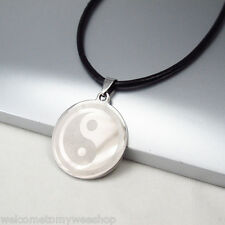 Silver Ba Gua Tai Chi Yin Yang Stainless Steel Pendant Black Leather Necklace