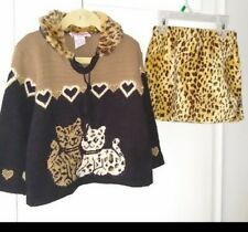 Girls Set Outfit sweater pullover skirt Size 4T Clockwise cats fur Excellent