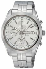 NEW SEIKO SNDA85P1 Mens Chronograph Stainless Steel White Dial Watch SNDA85