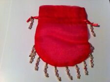 10 Fushia Organza Jewelry Gift Bags Bag Drawstring decorated with Beads 4x5""