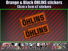 2x Ohlins Orange & Black Decals Stickers Suspension Bike, Shock fork damper moto