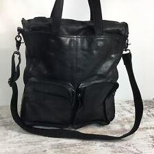 Anthropologie 7 CHI Black Soft Leather Crossbody Shoulder Tote Bag Organizer XL