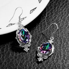 June Birthstone earrings Rainbow Mystic topaz  925 Silver Victoria Jewelry Gift