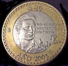 2000 Mexico 20 pesos Bimetallic Octavio Paz Nobel de Literatura