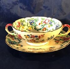 Royal Cauldon VICTORIA V7173 Cream Soup Bowl & Saucer - England