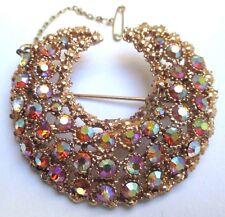 broche ancien bijou vintage cristaux lune couleur or rose chaîne sécurité 18
