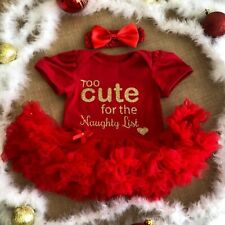 NEWBORN CHRISTMAS BABY OUTFIT, Too Cute for Naughty List, Baby Girl Tutu Romper