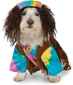 New HIPPIE Tie Dye DOG COSTUME Rubie's Cute Small Pet Outfit w/ Wig & Necklace