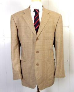 euc T. Harris London Brown Glen Plaid Wool & Silk Patch Pocket Blazer Jacket XL