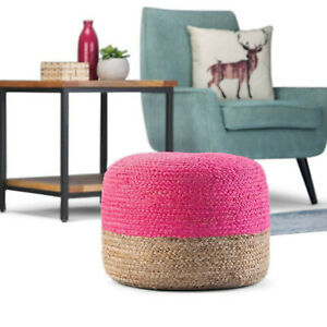 Pouf Cover Pink & Natural Jute Pillow Round Home Handmade Jute Pouf Cover Only