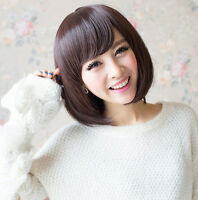 New  Women's Short Brown Straight Bobo Hair Full Wigs Wig Cosplay Party Wigs