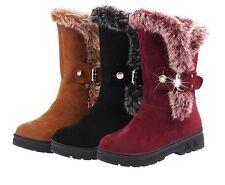 Winterstiefel Damen Stiefeletten Warm Gefütterte Kunstfell Stiefel Flach Schuhe