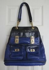 Alexis Hudson Aspen Ombre Tote Dark Blue and Black Crocodile Handbag / Purse