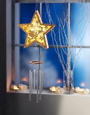 Holz Stern Weihnachtsstern mit Klangspiel Fenster Weihnachtsdeko Beleuchtet LED