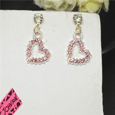 Hot Bling Crystal Cute Love Girl Pink Heart Betsey Johnson Women Stand Earrings
