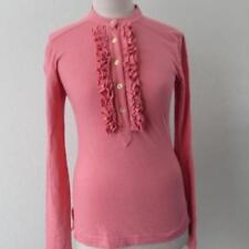 TORY BURCH womens XS pink coral l/s ruffle Lidia polo shirt top RARE