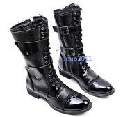 Vintage Men's Shoes Punk Rock Lace Up Motorcycle Buckle Combat Knee High Boots