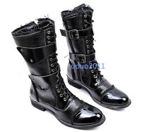 Vintage Men's Shoes Punk Rock Lace Up Motorcycle Buckle Combat Knee High Boots