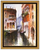 Claudio Simonetti Oil Painting On Board Original Signed Venice Canal Cityscape