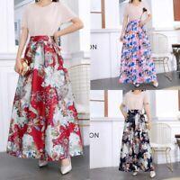 Pleated vintage long skirt maxi dress skater floral retro high waist women new