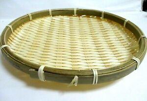 Japanese Bamboo Dish Circle Plate for Soba Udon Noodles tenpura  22cm