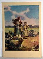 """14"""" Vintage Religious Print Christian The Shepherd Boy Man With Sheep"""