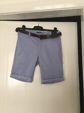 NWT- Men's River Island Chino  Blue Belted Trouser Short