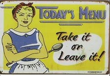 New Vintage Style Retro Metal Wall Hanging Sign Todays Menu Take It Or Leave it