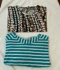 PREOWNED CHICO'S TOPS SIZE 3 - BROWN/WHITE/TEAL- TEAL/WHITE EXCELLENT CONDITION