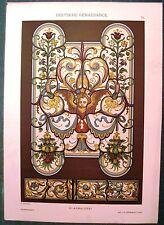Stampa antica RINASCIMENTO in GERMANIA vetrata artistica 1887 Old antique print
