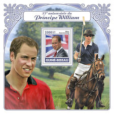 Guinea-Bissau 2017 MNH Prince William 35th 1v S/S Polo Horses Royalty Stamps
