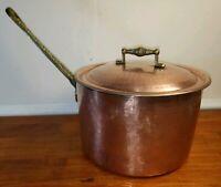 Vintage Hammered Copper Pot with Brass Handles - Ali's Copper Shop Adana Turkey
