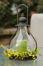 CANDLE HOLDER WITH HURRICANE GLASS~RUSTIC LANTERN