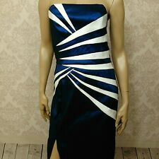 Jessica Mcclintock Blue Strapless Long Dress Gown Size 12 White Trim High Slit