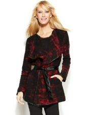 INC International Concepts Wrap Sweater Jacket Women's Red Black Size Large