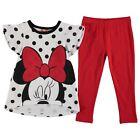 DISNEY ensemble MINNIE tunique + legging 5-6 / 7-8 ans blanc rouge noir NEUF