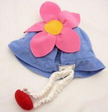 Set déguisement chapeau bleu à fleurs rose et bandeau blanc avec boule rouge