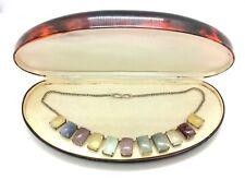 Vintage Retro Sterling Silver Multi-Colour Agate Stone Graduating Chain Necklace