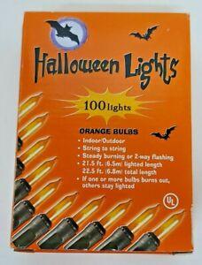 Halloween Lights 100 Orange Bulbs Indoor Outdoor String Steady Burning or Flash