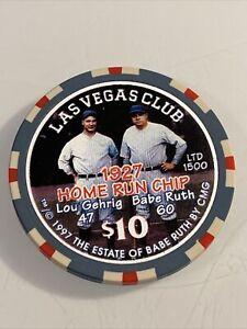LAS VEGAS CLUB LOU GEHRIG BABE RUTH $10 Casino Chips Las Vegas NV 3.99 Shipping