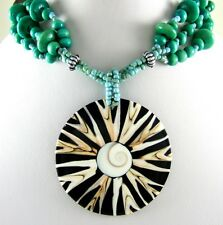 STUNNING CONE SHELL AND SHIVA EYE BEADS necklace ;EA027